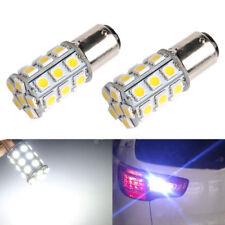 2x White 1157 BAY15D 5050 27-SMD Tail Brake Stop Backup Reverse LED Light Bulbs