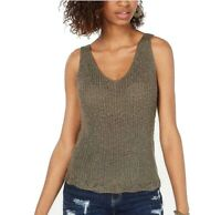 Hooked Up Womens Tops Green Size Medium M Tank Scoop Neck Knitted $34- 667