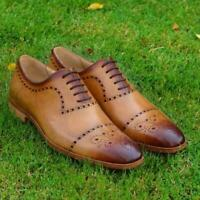 Wholecut Oxford Men Brogue Handmade Wedding Party Real Calf Leather Dress Shoes