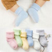 Solid Color Cotton Newborn Kids Socks Anti Slip Socks Baby Girls Boys Soft Socks