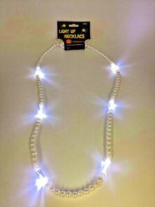 "Light-Up 14"" WHITE LED Wedding Dance Party FIESTA Holiday Necklace LED Beads US"