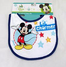 DISNEY Baby Bib Mickey Mouse Lil Charmer Blue Trim Stars 0-3 years Shower Gift