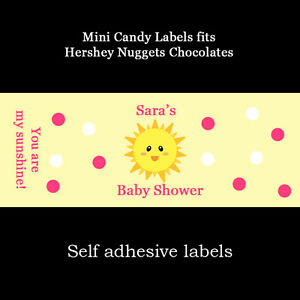 120  Baby Shower Mini Candy Bar Labels -PINK You Are My Sunshine Baby Shower