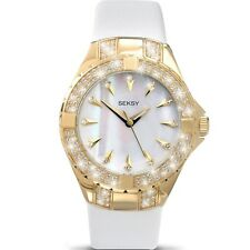Sekonda Seksy Intense Swarovski Elements White Leather Strap Ladies Watch 4432