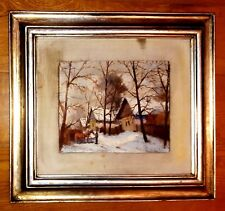 """-WINTER- OIL PAINTING 21.5"""" x 19.5"""" ON CANVAS SIGNED ILEGIBLE GOLD SILVER LEAF"""