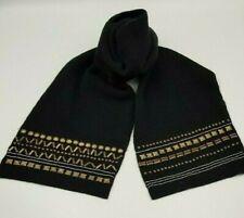 Ladies Black Warm Winter Wool Mix Scarf Studs Chain  (7003)