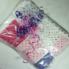 Hand Crochet Baby Cot Blanket Throw 75cm L Soft Cotton & Acrylic ***LAST ONE***