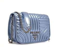 Prada Quilted Crossbody Bag Metallic Blue Leather New