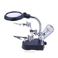 Solder Third Hand Soldering Stand Holder Station Magnifier Helping Tool & 2x LED
