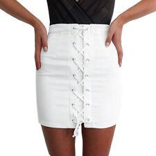 Women High Waist Denim Bodycon Skirt Mini Jeans Short Single-breasted Skirts US