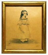 RARE MID-19TH C ANTIQUE INK & W/C YOUNG GIRL W/FLOWER ORIG FRAME SIGNED G. MONE