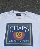 Vintage 90s Chaps Ralph Lauren Multicolor Box Logo Distressed Tee - Size Large