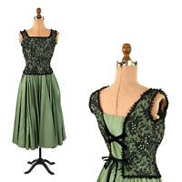 Vintage 50s Original Junior Brenards Green + Sheer Black Lace Corset Party Dress