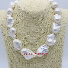"""huge AAAAA luster real natural 17"""" 50mm south sea baroque white pearl necklace"""