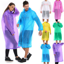 Adult Raincoat Transparent Waterproof Plastic Reusable Rain Poncho Hood Lady Men