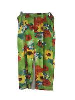 Vintage Jams World Flower Cropped Drawstring Capri Pants Size XS