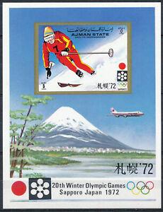 Ajman - Sapporo Olympic Games MNH Sport Sheet Skiing (1972)