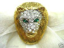 18KGP Lion Face Swarovski Element Austrian Crystal Rhinestone Brooch Pin
