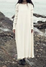 Rural Style Lady Long Dress Casual Loose Fit Maxi Long Sleeve Cotton White