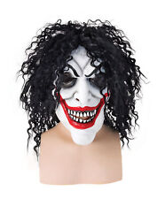 Smiling Man Mask with Long Curly Hairs Halloween Horror Clown Costume Accessory