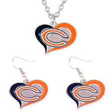 Chicago Bears Swirl Heart Team Logo Charm Necklace and Earring Jewelry Gift Set