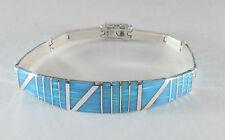 ".950 silver light blue opal bracelet with long curved centerpiece 7 1/2"" long"