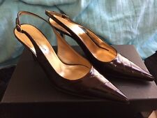 Dolce Gabbana Dark Brown Eel Skin Pointed Toe Slingback Heel Pump Shoe Size 37.5