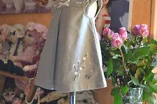 ROBE TARTINE ET CHOCOLAT 6 mois doublee gris noeud rose fleur brodee en bas