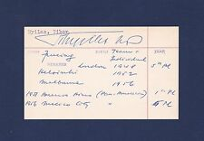 Tibor Nyilas signed American Olympic Fencer Medal Winner index card 1914-1986