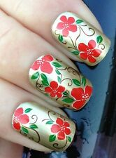 20 stickers nail art water transfer-FLOWERS-Adesivi Unghie Fiori Rossi (G130)!