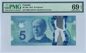 Canada 5 Dollars BC-69a 2013 PMG 69 EPQ First prefix HBG 1222797 Polymer