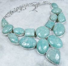 ARTISAN HANDCRAFTED NATURAL AMAZONITE 925 SILVER  NECKLACE COLLAR, 155 GR.