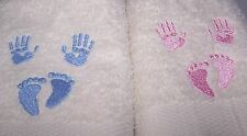 """""""PERSONALIZED WITH NAME & DOB EMBROIDERED BABIES HANDS AND FEET  BATH TOWEL"""""""