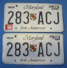 1985 Maryland License Plates Matched Pair 350th anniversary