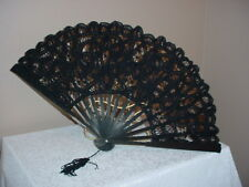BLACK BATTENBURG LACE FAN VICTORIAN TEA LADIES BLACK WIDOW GOTHIC STEAMPUNK SASS