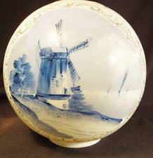 1880's Mt Washington Blue Delft Scenic Decorated Kero Oil Gwtw Parlor Ball Shade