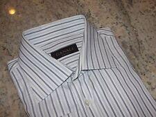 Canali Italian Dress Shirt French Cuff White / Black/Green Striped Mens 15 1/2