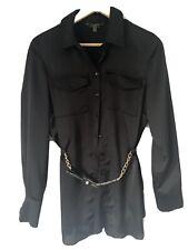 Lipsy Satin Black Shirt Size 12
