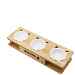 Cat Bowl Ceramic Double Bowl Solid Wood Frame Cat Food Basin To Protect Cervical
