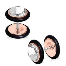 Clear Cz Bling Pair Of Fake Faux Plugs Cheater Gauges (Rose Gold-Tone Steel)