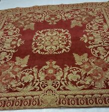 Spice Red and Tan Rose Medallion Chenille Tapestry Throw and Handmade Pillows