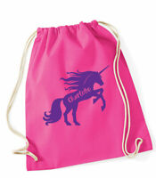 Personalised Unicorn PE bag,cotton gym bag/drawstring, School bag, 5 colours