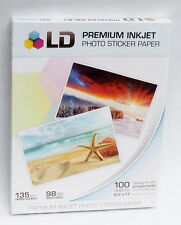 100 Sticker Paper Full Sheets GLOSSY Inkjet  Printer Photo Scrapbook Decal