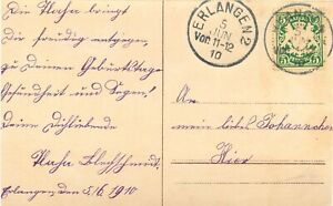 """BAYERN """"ERLANGEN 2"""" K1 glasklar a. Geburtstags-AK (echtes Photo), Ortskarte 1910"""