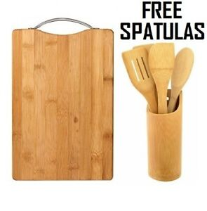 Bamboo Wooden Chopping Reversible Cutting Board With Handle Free 4 Spatulas Set