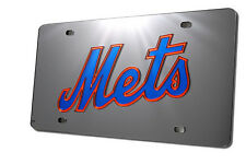 New York Mets MLB Acrylic Laser Cut Black Mirrored License Plate