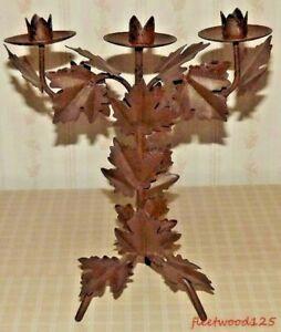 Candle Holder Leaf Design Metal 3 Socket Brown / Candelabra Steampunk Industrial