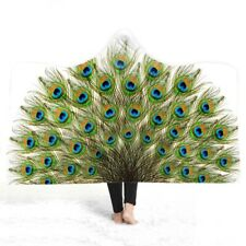Gift Gorgeous Peacock Feathers Print Soft Warm Fleece Hooded Blanket Throw Cape