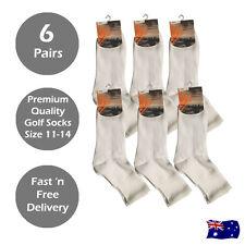 6 Pairs of Premium Quality White Cotton Golf Sports Socks Size 11 - 14