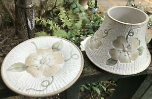 Yankee Candle Large Shade Topper & Plate Flowers Dogwood? Cream And Tan
